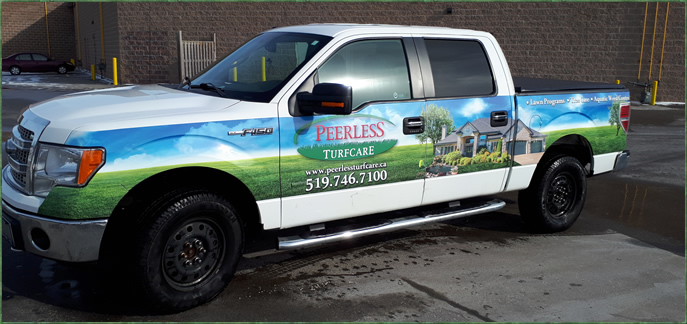 Beautifully Decal Design On Lawn Care Truck For Peerless Turfcare.